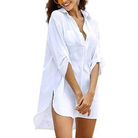 Blusa longa com decote em V, tamanho M - branca