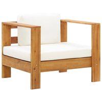 vidaXL Cadeira de jardim c/ almofadão madeira acácia maciça creme
