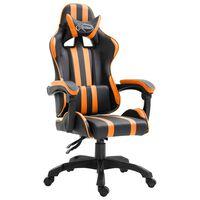 vidaXL Cadeira de gaming couro artificial laranja
