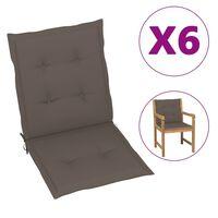 vidaXL Almofadões cadeiras jardim 6 pcs 100x50x4 cm cinza-acastanhado