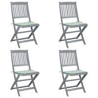 vidaXL Cadeiras exterior dobráveis c/ almofadões 4 pcs acácia maciça