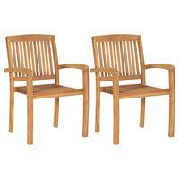 vidaXL Cadeiras de jantar jardim empiháveis 2 pcs madeira teca maciça