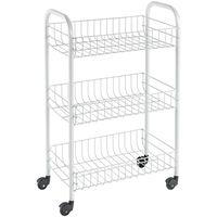 """Metaltex Kitchen Trolley with 3 Baskets """"Siena"""" White"""
