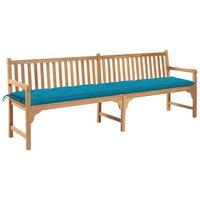 vidaXL Banco de jardim c/ almofadão azul-claro 240 cm teca maciça