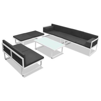 vidaXL 5 pcs conjunto lounge para jardim textilene e alumínio preto