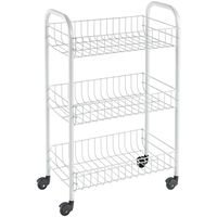 "Metaltex Kitchen Trolley with 3 Baskets ""Siena"" White"