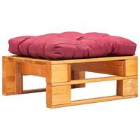 vidaXL Otomano paletes c/ almofadão vermelho madeira castanho mel
