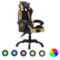 vidaXL Cadeira estilo corrida luzes LED RGB couro artif. dourado/preto