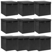vidaXL Caixas de arrumação com tampas 10 pcs 32x32x32 cm tecido preto