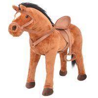 vidaXL Cavalo de peluche de montar castanho