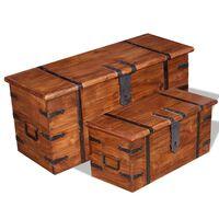 vidaXL Conjunto de arcas de arrumação 2 pcs madeira maciça