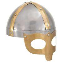vidaXL Capacete soldado viking réplica LARP aço prateado