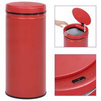 vidaXL Caixote do lixo com sensor automático 80 L aço carbono vermelho