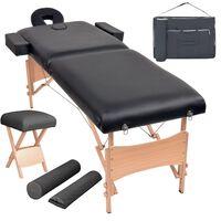 vidaXL Conj. mesa massagem dobrável 2 zonas + banco 10cm espess. preta