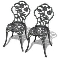 vidaXL Cadeiras de bistrô 2 pcs alumínio fundido verde