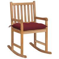 vidaXL Cadeira de baloiço com almofadão vermelho tinto teca maciça