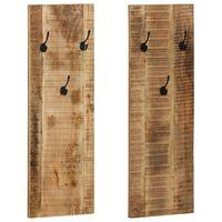 vidaXL Bengaleiro parede 2 pcs madeira mangueira maciça 36x110x3 cm