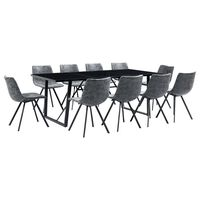 vidaXL 11 pcs conjunto de jantar couro artificial preto