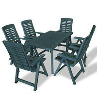 vidaXL Conjunto de jantar de exterior 7 pcs plástico verde