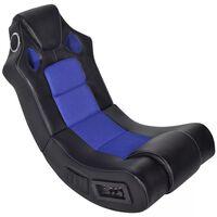 vidaXL Cadeira de balanço musical de couro artificial preto azul