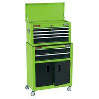 Draper Tools Armário de ferramentas com rodas 61,6x33x99,8 cm verde