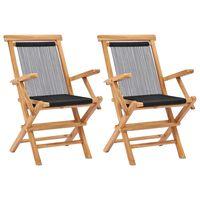 vidaXL Cadeiras de jardim dobráveis 2 pcs madeira teca maciça e corda