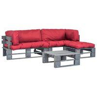 vidaXL Sofá de paletes jardim 4 pcs almofadões vermelhos madeira