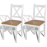vidaXL Cadeiras de jantar 2 pcs madeira de pinho branco