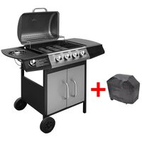 vidaXL Grelhador/barbecue a gás 4+1 zonas de cozinhar preto/prateado