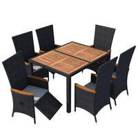 vidaXL 7 pcs conjunto jantar p/ exterior vime PE madeira acácia preto