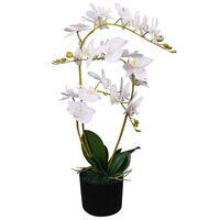 vidaXL Planta orquídea artificial com vaso 65 cm branco