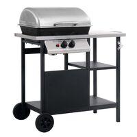 vidaXL Grelhador/BBQ gás mesa de apoio 3 prateleiras preto e prateado