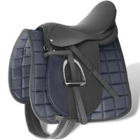 """Sela para equitação 17.5"""", couro natural 12 cm 5-in-1 / Preta"""