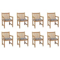vidaXL Cadeiras de jardim almofadões xadrez cinzento 8 pcs teca maciça