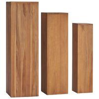vidaXL 3 pcs conjunto suportes para plantas madeira de teca maciça