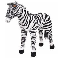 vidaXL Brinquedo de montar zebra peluche preto e branco XXL