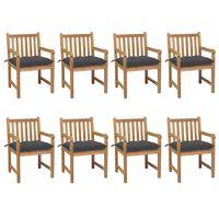 vidaXL Cadeiras de jardim c/ almofadões antracite 8 pcs teca maciça