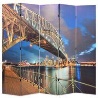 vidaXL Biombo dobrável estampa da ponte do porto de Sydney 200x170 cm
