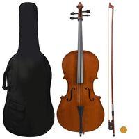 vidaXL Conj. completo violoncelo c/ saco e arco madeira escura 4/4