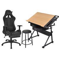 vidaXL Estirador inclinável com cadeira de escritório estilo corridas
