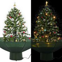 vidaXL Árvore de Natal com neve base formato guarda-chuva 75 cm verde