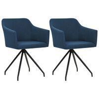 vidaXL Cadeiras de jantar giratórias 2 pcs tecido azul