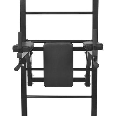 vidaXL Torre de musculação multifuncional de montagem na parede, preto