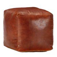 vidaXL Pufe 40x40x40 cm couro de cabra genuíno bronze