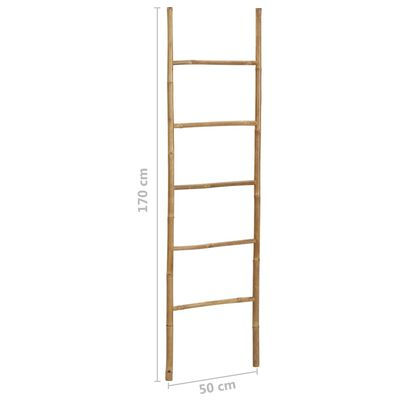 vidaXL Toalheiro escada com 5 degraus bambu 170 cm