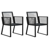 vidaXL Cadeiras de jardim 2 pcs vime de PVC preto