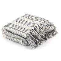 vidaXL Manta em algodão às riscas 220x250 cm cinzento e branco