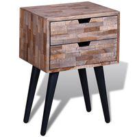 vidaXL Mesa de cabeceira com 2 gavetas, madeira reciclada maciça