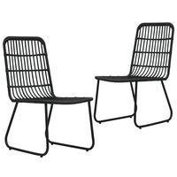 vidaXL Cadeiras de jardim 2 pcs vime PE preto