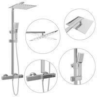 vidaXL Conjunto duche com dois chuveiros e termostato aço inoxidável